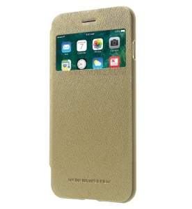 Husa Book View Mercury Goospery Wow iPhone 7 Plus, Gold