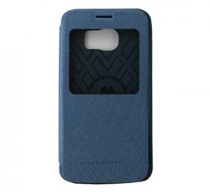 Husa Book View Mercury Goospery Wow Samsung Galaxy S6 Edge, Albastru