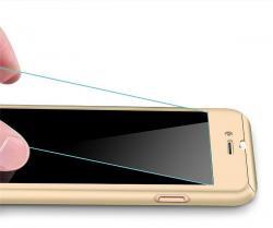Husa Full Cover 360 (fata + spate + geam sticla) pentru Apple iPhone 7, Gold
