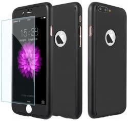 Husa Full Cover 360 (fata + spate + geam sticla) pentru Apple iPhone 7 Plus, Negru