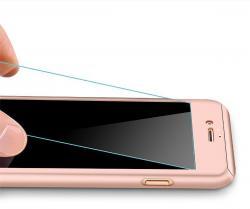 Husa Full Cover 360 (fata + spate + geam sticla) pentru Apple iPhone 7 Plus, Rose Gold