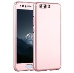 Husa Full Cover 360 (fata + spate + geam sticla) pentru Huawei P10 Plus, Rose Gold