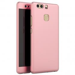 Husa Full Cover 360 (fata + spate + geam sticla) pentru Huawei P9, Rose Gold