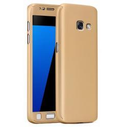 Husa Full Cover 360 (fata + spate + geam sticla) pentru Samsung Galaxy A5 (2017), Gold