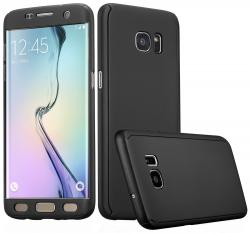 Husa Full Cover 360 (fata + spate) pentru Samsung Galaxy S6 Edge, Negru