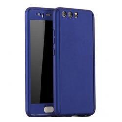 Husa Full Cover 360 + folie sticla Huawei Honor 9, Albastru