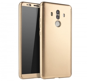 Husa Full Cover 360 + folie sticla Huawei Mate 10 Pro, Gold