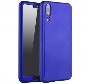 Husa Full Cover 360 + folie sticla Huawei P20, Albastru