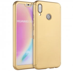 Husa Full Cover 360 + folie sticla Huawei P20 Lite, Gold