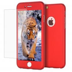 Husa Full Cover 360 + folie sticla iPhone 7, Red