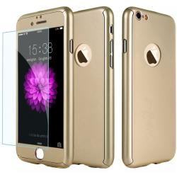 Husa Full Cover 360 + folie sticla iPhone 8, Gold