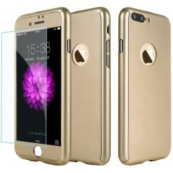 Husa Full Cover 360 + folie sticla iPhone 8 Plus, Gold