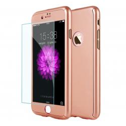 Husa Full Cover 360 + folie sticla iPhone 8 Plus, Rose Gold