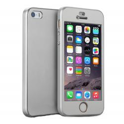 Husa Full Cover 360 + folie sticla iPhone SE / 5 / 5S, Silver