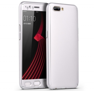 Husa Full Cover 360 + folie sticla OnePlus 5, Silver
