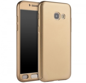 Husa Full Cover 360 + folie sticla Samsung Galaxy A7 (2017), Gold