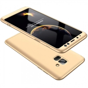 Husa Full Cover 360 + folie sticla Samsung Galaxy A8 (2018), Gold