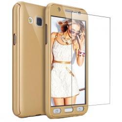 Husa Full Cover 360 + folie sticla Samsung Galaxy J3 (2016), Gold