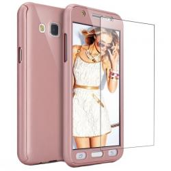 Husa Full Cover 360 + folie sticla Samsung Galaxy J5 (2016), Rose Gold