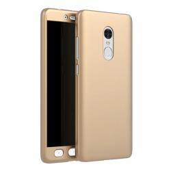 Husa Full Cover 360 + folie sticla Xiaomi Redmi Note 4, Gold