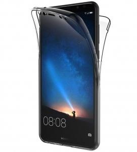 Husa Full TPU 360 fata + spate Huawei Mate 10 Lite, Gri Transparent