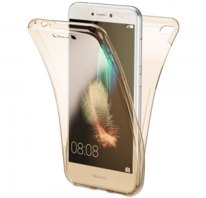 Husa Full TPU 360 fata spate Huawei P9 Lite Mini 2017, Gold transparent