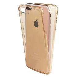 Husa Full TPU 360 (fata + spate) iPhone 8 Plus, Gold Transparent