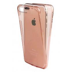 Husa Full TPU 360 (fata + spate) iPhone 8 Plus, Rose Gold Transparent