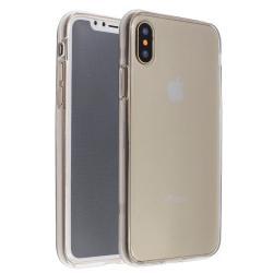 Husa Full TPU 360 (fata + spate) iPhone X, Gri Transparent