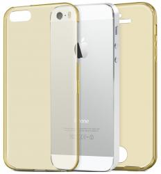 Husa Full TPU 360 (fata + spate) pentru Apple iPhone 5 / 5S / SE, Gold Transparent