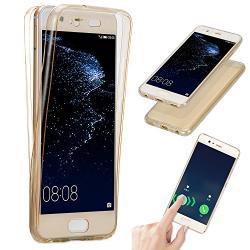 Husa Full TPU 360 (fata + spate) pentru Huawei P10, Gold Transparent