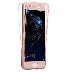 Husa Full TPU 360 (fata + spate) pentru Huawei P10 Plus, Rose Gold Transparent