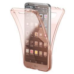 Husa Full TPU 360 (fata + spate) pentru LG G6, Rose Gold Transparent