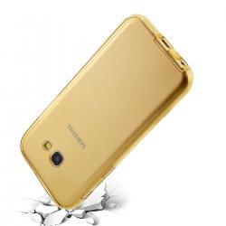 Husa Full TPU 360 (fata + spate) pentru Samsung Galaxy A3 (2017), Gold transparent