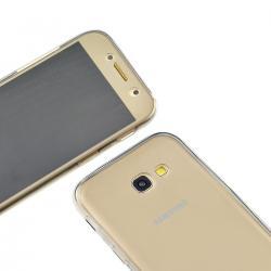 Husa Full TPU 360 (fata + spate) pentru Samsung Galaxy A3 (2017), Gri transparent