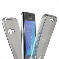 Husa Full TPU 360 (fata + spate) pentru Samsung Galaxy J1 (2016), Gri Transparent