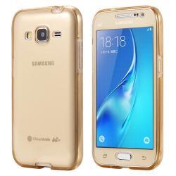 Husa Full TPU 360 (fata + spate) pentru Samsung Galaxy J5, Gold Transparent
