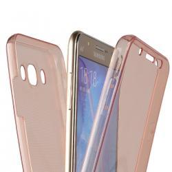 Husa Full TPU 360 (fata + spate) pentru Samsung Galaxy J7 (2016), Rose Gold Transparent