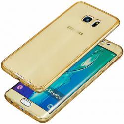 Husa Full TPU 360 (fata + spate) pentru Samsung Galaxy S6 Edge Plus, Gold Transparent