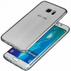 Husa Full TPU 360 (fata + spate) pentru Samsung Galaxy S6 Edge Plus, Gri Transparent