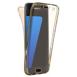 Husa Full TPU 360 (fata + spate) pentru Samsung Galaxy S6, Gold Transparent