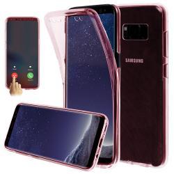 Husa Full TPU 360 (fata + spate) pentru Samsung Galaxy S8, Rose Gold Transparent