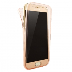 Husa Full TPU 360 (fata + spate) Samsung Galaxy A3 (2017), Rose Gold Transparent