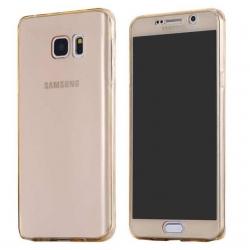 Husa Full TPU 360 (fata + spate) Samsung Galaxy Note 5, Gold Transparent