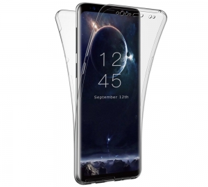 Husa Full TPU 360 fata + spate Samsung Galaxy S9 Plus, Gri Transparent