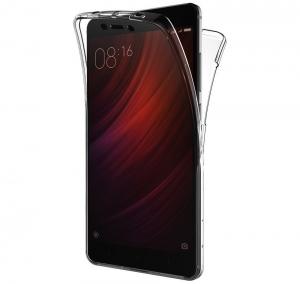 Husa Full TPU 360 fata spate Xiaomi Redmi Note 4, Gri Transparent
