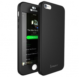 Husa iPaky 360 + folie sticla iPhone 5 / 5S / SE, Black