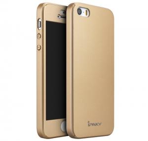 Husa iPaky 360 + folie sticla iPhone 5 / 5S / SE, Gold