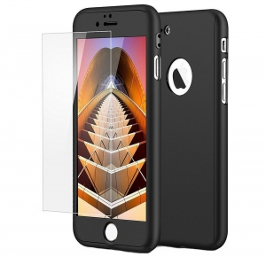 Husa iPaky 360 + folie sticla iPhone 6 / 6S, Black