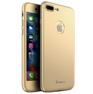Husa iPaky 360 + folie sticla iPhone 7 Plus, Gold